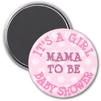 Baby Shower Button, Mama to Be Pink Polka Dots 7.5 Cm Round Magnet