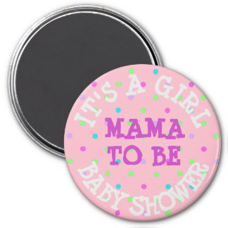 Baby Shower Button, Mama to Be Pink Purple Dots 7.5 Cm Round Magnet