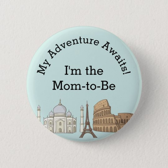 Baby Shower Button- Travel Themed 6 Cm Round Badge