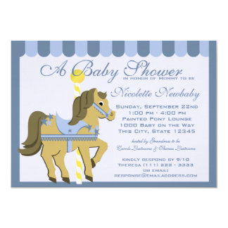 Baby Shower Carousel Blue 13 Cm X 18 Cm Invitation Card