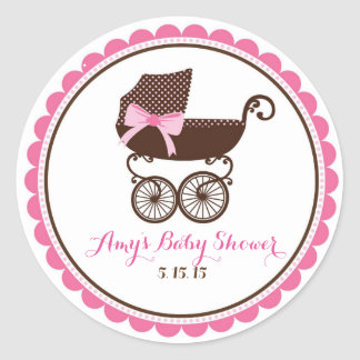 Baby Shower Carriage Stickers Favor