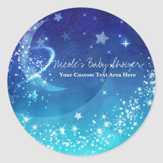Baby Shower Celestial Moon Sparkle Sky Custom Classic