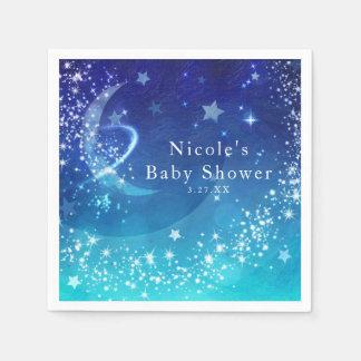 Baby Shower Celestial Moon Sparkle Sky Custom Disposable Napkin