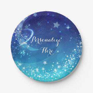 Baby Shower Celestial Moon Sparkle Sky Party Paper Plate