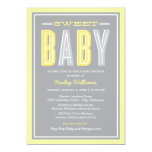 Baby Shower | Chic Type in Yellow and Grey 13 Cm X 18 Cm Invitation Card