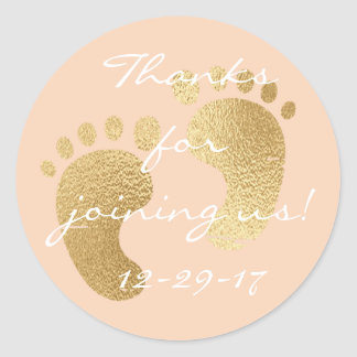 "Baby Shower ""Classic Gld/Pk"" Stickers 1 1/2"" or 3"""