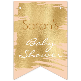 Baby Shower Classic Pink/Gold Swallowtail Banner