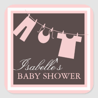 Baby Shower Clothes LIne in Pink Favor Sticker