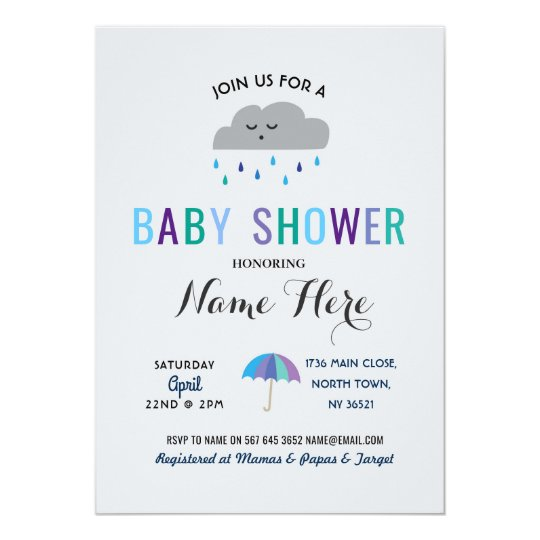 Baby Shower Cloud Sprinkle Rain Cute Umbrella Rain