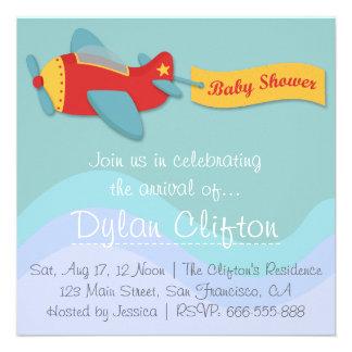 Baby Shower: Colorful & Adorable Cartoon Aeroplane Custom Invite