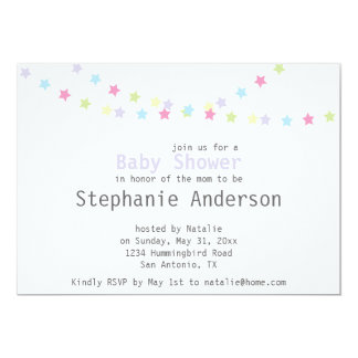 Baby Shower Colourful Pastel Stars Decoration 13 Cm X 18 Cm Invitation Card