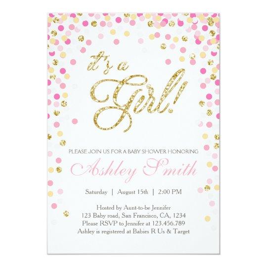 Baby Shower Confetti Pink Gold Glitter Invitation