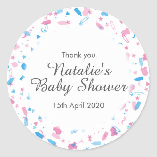 Baby Shower Confetti Thank You Favor Classic Round Sticker