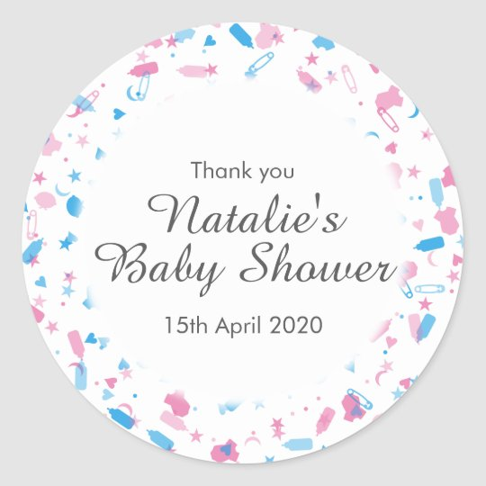 Baby Shower Confetti Thank You Favour Classic Round
