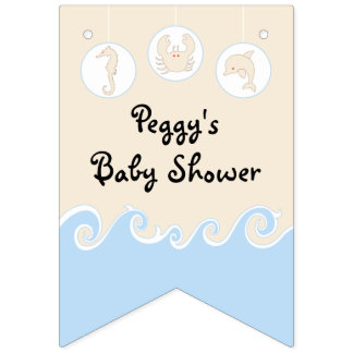 Baby Shower Cream/Blue Mobile, Swallowtail Banner