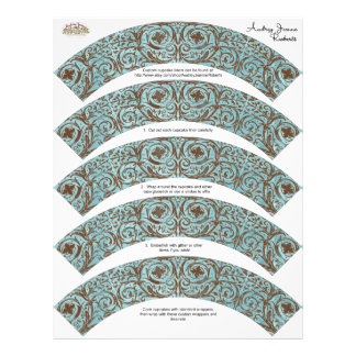 Baby Shower Cupcake Wrappers - Blue Brown Damask Full Color Flyer