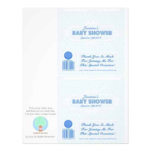 Baby Shower Custom Candy Bar Wrappers Blue Personalized Flyer