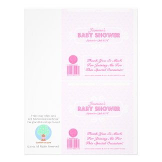 Baby Shower Custom Candy Bar Wrappers Pink 21.5 Cm X 28 Cm Flyer