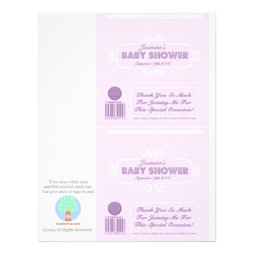 Baby Shower Custom Candy Bar Wrappers Pink Flyer Design