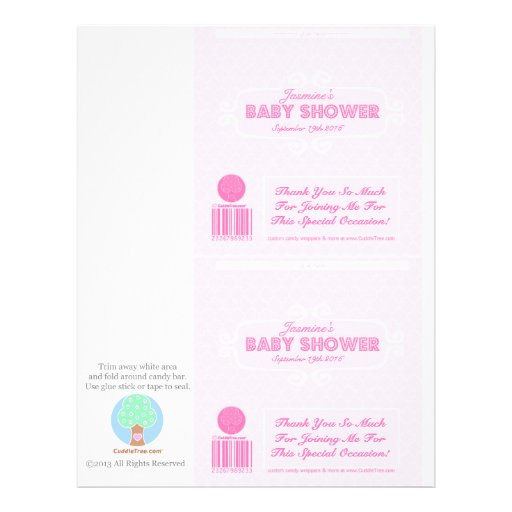 Baby Shower Custom Candy Bar Wrappers Pink Flyer