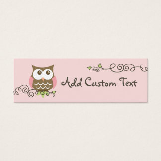 Baby shower custom owl tag mini business card