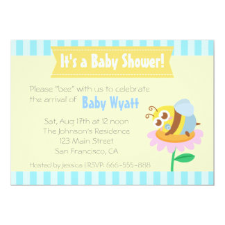 """Baby Shower: Cute baby Bee resting on flower 5"""" X 7"""" Invitation Card"""