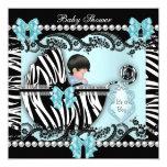 Baby Shower Cute Baby Boy Blue Zebra Lace 13 Cm X 13 Cm Square Invitation Card