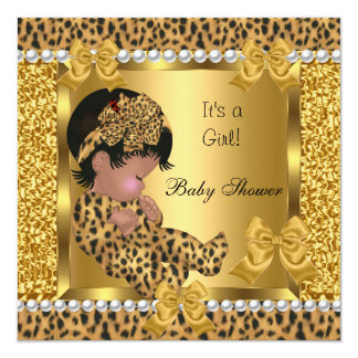 Baby Shower Cute Baby Girl Gold Leopard 2 13 Cm X 13 Cm Square Invitation Card