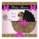 Baby Shower Cute Baby Girl Leopard Hot Pink 13 Cm X 13 Cm Square Invitation Card