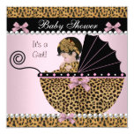 Baby Shower Cute Baby Girl Pink Leopard Bow 13 Cm X 13 Cm Square Invitation Card