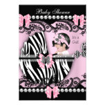 Baby Shower Cute Baby Girl Pink Zebra Lace Personalised Invites