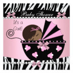 Baby Shower Cute Baby Girl Pink Zebra Print Custom Announcement
