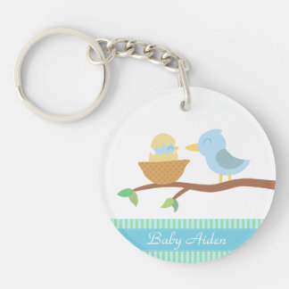 Baby Shower: Cute blue bird with just hatched baby Double-Sided Round Acrylic Keychain
