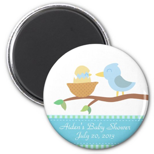 Baby Shower: Cute blue bird with just hatched baby Magnet