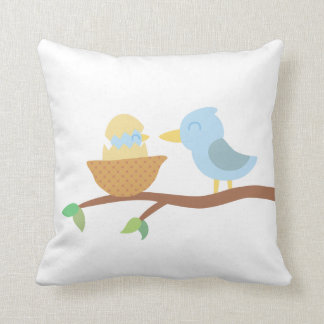 Baby Shower: Cute blue bird with just hatched baby Throw Pillow