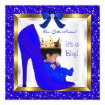 Baby Shower Cute Boy Prince Royal Blue Shoe Personalised Announcement