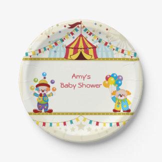 Baby Shower, Cute Clowns, Circus, Custom 7 Inch Paper Plate