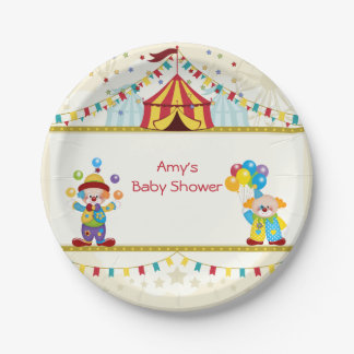 Baby Shower, Cute Clowns, Circus, Custom Paper Plate