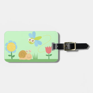 Baby Shower: Cute Dragonfly & Snail in a garden Luggage Tag