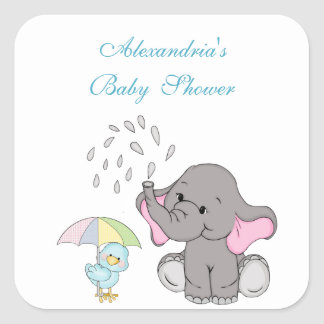 Baby Shower, Cute Elephant Sprinkle, Custom Square Sticker