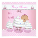 Baby Shower Cute Girl Pink Cupcake Sprinkle 13 Cm X 13 Cm Square Invitation Card