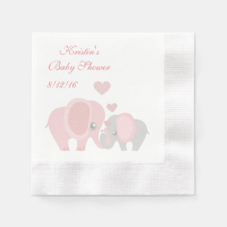 Baby Shower, Cute Pink Elephants Disposable Napkin