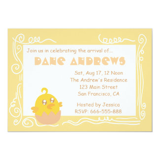 Baby Shower: Cute Yellow Baby Chick in Egg Shell Invitations