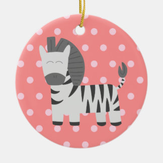 Baby Shower: Cute zebra with pink polka dots Christmas Ornament