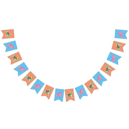 Baby Shower Dala Horse Party Bunting