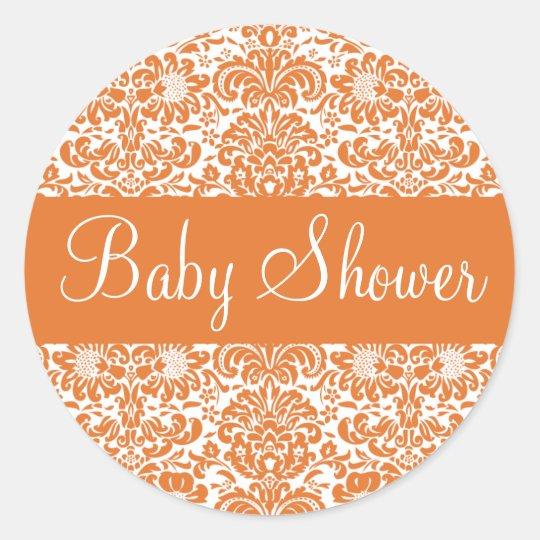 Baby Shower Damask Envelope Sticker Seal