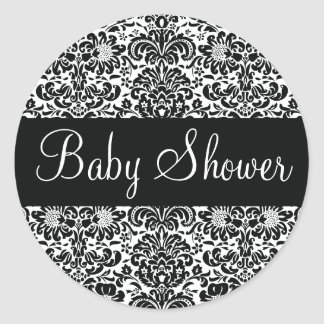 Baby Shower Damask Envelope Sticker Seal