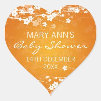 Baby Shower Date Cherry Blossom Orange Heart Sticker