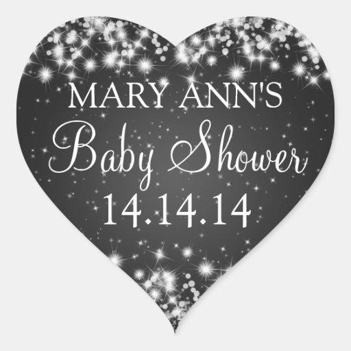 Baby Shower Date Winter Sparkle Black Sticker
