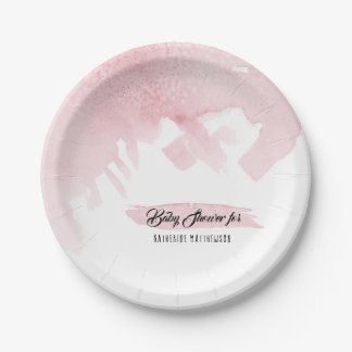 Baby Shower Decor Modern Simple Watercolor Wash Paper Plate